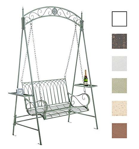CLP Garten Hollywoodschaukel YLENIA, 2 Sitzer / 3 Sitzer, Landhaus-Stil, Metall (Eisen), bis zu 6 Farben wählbar antik-grün