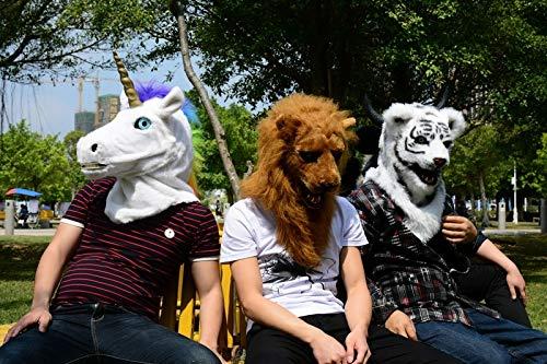 Masken Für Kostümpartys Tiermaske Beliebte handgefertigte Halloween White Tiger Mask Heißer Verkauf Lustige Custom Design Moving Mouth Animal Party Maskenfabrik für Weihnachten Ostern Karneval Kostüm