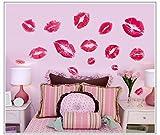 zooarts labios rojos beso extraíble de pared Arte Adhesivo Pegatinas Vinilo Decoración Hogar Sala Mural
