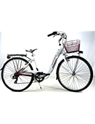 """'Bicicleta """"Adriatica"""" con cambio 6 V Modelo Relax Mujer 26 – Blanco/Rojo"""