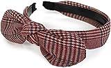styleBREAKER Damen Retro Haarreif mit Glencheck Karo Muster und Schleife, Haarband, Headband 04026019, Farbe:Rot-Beige