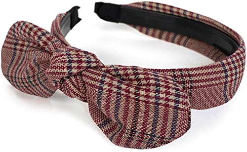 styleBREAKER Damen Retro Haarreif mit Glencheck Karo Muster und Schleife, Haarband, Headband...