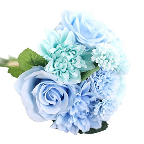 Mitlfuny Unechte Blumen, Blatt Rose mit Blumen Gefälschte Blumen Seidenrosen Plastik Köpfe Braut Hochzeitsblumenstrauß für Haus Garten Pfingstrose Floral künstliche Seide Künstliche Flanell Blume Brautstrauß Hochzeitsfeier Home Decor (Blau) (Blaue Hortensie Brautstrauß)