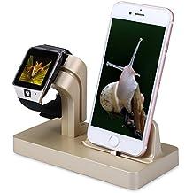 Soporte de Cargador para Apple Watch, FACEVER Soporte y Estación de Carga para Apple iWatch Series 3/2/1, iPhone X 8 7 Plus 6S, iPod -Oro
