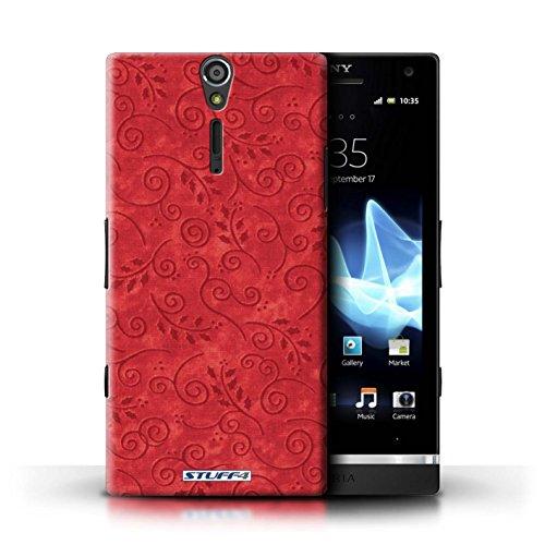 Kobalt® Imprimé Etui / Coque pour Sony Xperia S/LT26i / Pourpre conception / Série Motif Feuille Remous Rouge