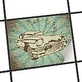 creatisto Fliesen überkleben | Motiv-Folie Sticker Aufkleber Badezimmerfolie Dekorfolie Badezimmergestaltung | 25x20 cm Retro Vintage Retro Cars 1-1 Stück