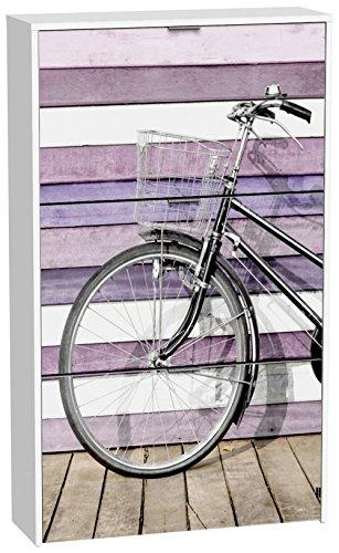 PEGANE Commode à Chaussures de 3 Portes laqué Blanc Motif Vélo Rose, 750 x 242 x 1268 mm