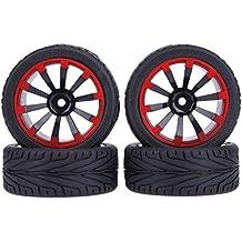 Domybest - Juego de 4 piezas de rueda de goma plana para coches RC, compatible