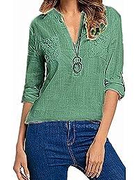 52a02adda799 OSYARD Damen Pocket Top Bluse Lange, Damen Feste Tasche LangäRmel V-Neck  Casual Shirt