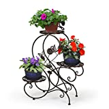 HLC-Bronze Porte Pot Pots de Plante Fleurs 3 Etagere Support Jardin en Metal Fer