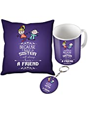 Sky Trendsk Gifts For Brother And Sister For Happy Rakshabandhan Mug With Cushion Cover Keychain Combo, Purple