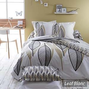 Parure de lit 140x200 cm - LEAF BLANC