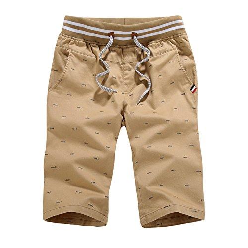 Twill-skort (K&S Young Herren Casual Style Slim Fit Straight Short Beach Shorts (L, Khaki-2))