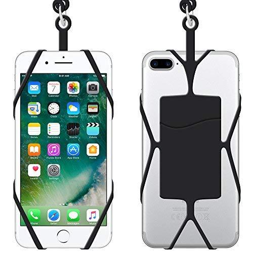 IHUIXINHE Universal Silikon Case Handytasche mit Phone Lanyard Band, 2PCS Silikon Fall Halter, mit Abnehmbarer Lanyard Halskette, ID Karte Steckplatz für iPhone X 8 7 Plus 6 6S Galaxy (Id-halter Lanyard Mit)