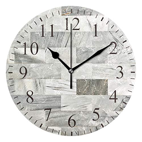 BONIPE Wanduhr mit abstraktem Aquarell-Marmor-Druck, geräuschlos, Nicht tickend, Acryl, 25,4 cm -