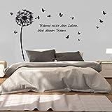 greenluup Wandtattoo Pusteblume Schmetterlinge Spruch träume nicht dein Leben schwarz