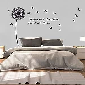 greenluup wandtattoo pusteblume schmetterlinge spruch tr ume nicht dein leben schwarz. Black Bedroom Furniture Sets. Home Design Ideas