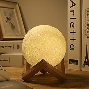 progreen 3d mond nachtlicht 3 farben usb mond lampe dimmbar nachttischlampe mit holzst nder. Black Bedroom Furniture Sets. Home Design Ideas