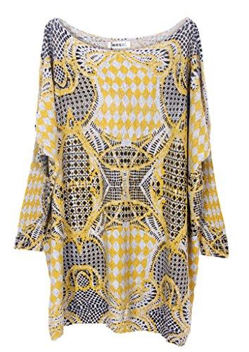 Bigood Pull Grande Taille Femme Tricoté Tops à Manche Longue Sweat-shirt Col Rond Imprimé Abricot #U