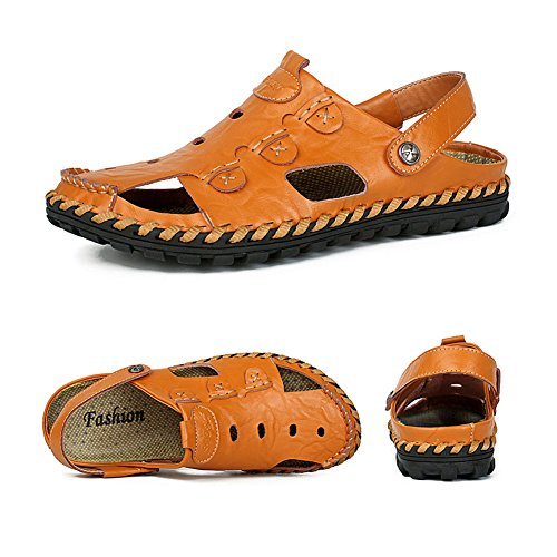 H&W Herren Mode Beilaufig Slip on Outdoor Sommer Leder Sandalen Flip Flop Braune