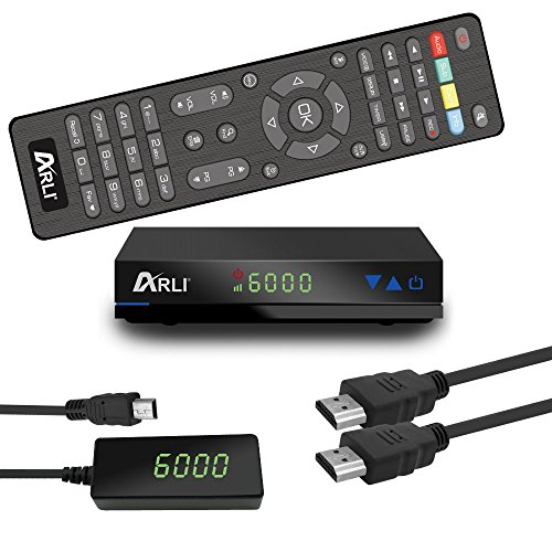 ARLI AH1 HD Sat Receiver vorprogrammiert Kanalliste für Astra Hotbird Türksat Digitaler Satelliten-Receiver DVB-S/S2 mit Internet IPTV Youtube Wetter Media Funktion USB Full HD 1080p externen 12V Netzteil und dem externen IR Sensor mit 4 stelligen LED Display