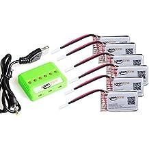 6 Stück Keenstone 3,7V für Hubsan X4 25C LiPO Batterie mit 6-Port-Ladegerät (H107 H107C H107D H107L V252 JXD385 F180C) 4 Kanal 2.4GHz RC QuadCopter Kompatibel mit Walkera Super CP