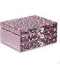 Eeayyygch Exquisito Estuche de joyería de Leopardo y Expositor de 2 Capas Organizador de Almacenamiento con