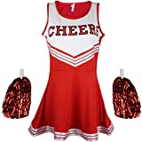Disfraz de animadora, disfraz de High School Musical, con pompones, Women's, color rosso, tamaño Large