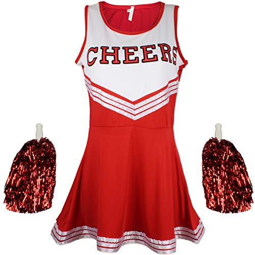 Kostüm Poms Pom Cheerleader - Cheerleader Fancy Dress Outfit Uniform High School Musical Costume with Pom Poms Red Cheerleader, Medium