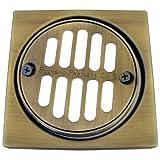 lasco-simpatico 31341eine abwanderung Fliesen quadratisch Set mit 4–1/4-Zoll Vierkant und 3–3/8Zoll rund Grill/Ring mit Schrauben für Dusche messing antik-optik