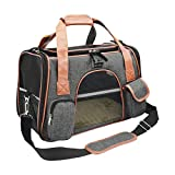 Premium Cat Carrier Travel Soft Sided for Small Cats and Dogs Portable Cozy Self Locking Zipper Cat Bag, Car Seat Safe Carrier Deep Gray, Medium