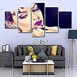 Tischbild auf Leinwand fertig zum Aufhängen Beauty Salon Make Up Fotos 5 Stück Leinwand -(W)100x(H)55cm