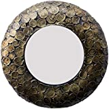 Royal Handicraft Exports Wood Brass Plated Round Wall Mirror (30.48 Cm X 4 Cm X 30.48 Cm, GAC082)