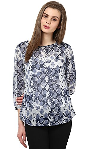 The Gud Look Women's Polyester Blue Snake Print Top  available at amazon for Rs.399