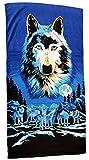 Toalla de playa 70x 140cm, toalla de manos, diseño de lobos Toalla 100% algodón...