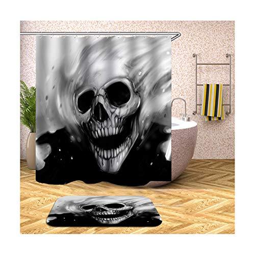 AmDxD Duschvorhang Badteppiche Set aus Polyester| 3D-Druck Schädel Muster Design Bad Vorhang Badezimmerteppich | Schwarz | mit 12 Duschvorhangringen für Badewanne Badezimmer - 120x180CM - Thymian Dusche