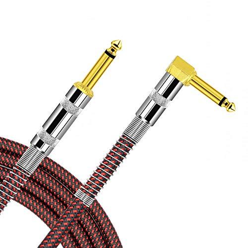Isolierte Sicherheits-jacke Farbe (L-förmiges Gitarrenkabel für E-Gitarre, Instrumentenkabel, 6,35 mm, gerader zu rechtwinkliger Winkel, vergoldet, 6,35 mm Instrumentenkabel für Gitarre, Bass, Tastatur, Effekt, Mikrofon, 1 m rot)