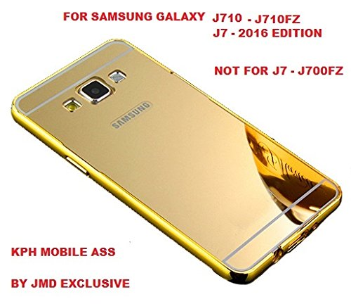 Fc Luxury Aluminium Bumper Plus Mirror Acrylic Back Cover For SAMSUNG J7 (6) NEW 2016 EDITION - GOLD (FREE TEMPERED GLASS)