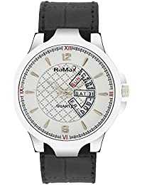 RaMax Analog Stylish White Dial Day & Date Watch For Men's