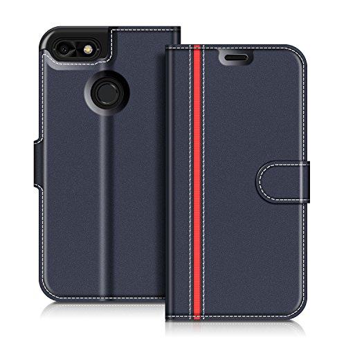 COODIO Handyhülle für Huawei Y6 Pro 2017 Handy Hülle, Huawei Y6 Pro 2017 Hülle Leder Handytasche für Huawei Y6 Pro 2017 Klapphülle Tasche, Dunkel Blau/Rot