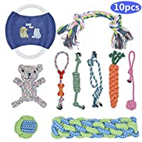 BOMPOW Dog Toys Durable Puppy Toys Teething Set Knots Cotton Doy Chew Toys for Puppy Small Pets, 10 Pack