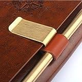 Distinct® 2pcs PU Porte-Stylo En Cuir avec Clip En Laiton Crayon Boucle Clip Conception pour Carnets Journaux Calendriers
