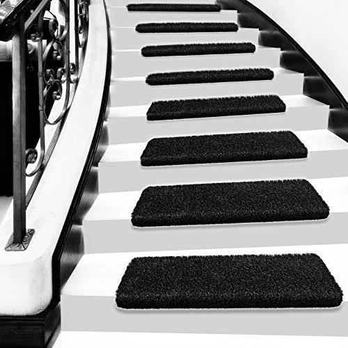 Luxuriöse Shaggy Stufenmatten Las Vegas | rechteckig | 28 x 65 cm | schwarz | einzeln oder im Set (15er-Set)