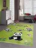 Kinderteppich Spielteppich Kinderzimmerteppich Panda mit Eulen Schmetterlinge und Vögeln in