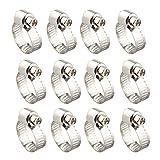 12Schlauch Clip Clamp, 13–19mm Verstellbarer Edelstahl-Schlauch Clip Worm Drive Rohre Rohr-Klemme