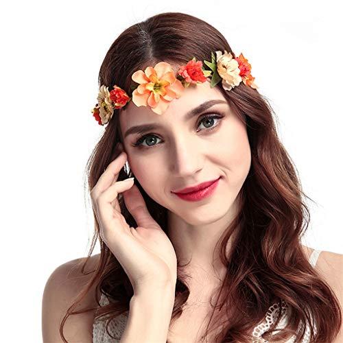 Stirnband Blumen, Dorical 1 Stück Stirnbänder Krone Haarband Kopfband Blume Haarbänder mit Elastischem Band für Hochzeit und Party Haarbänder Band für Frauen Mädchen mehrfarbig (One size, Z001-Orange)
