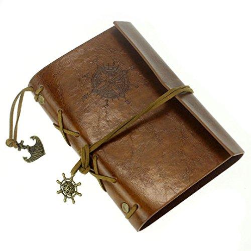 Weinlese-Art-Notizbuch-Kingwo Leder-Abdeckung Notizbuch-Journal-Tagebuch-unbelegte Schnur Nautisch(Braun) (4x6 Portfolio-buch)