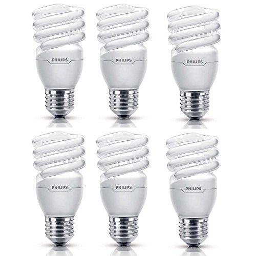 Philips Tornado 15W (75W) E27 Edison Screw Spiral Energy Saving Bulbs Warm White (6 Pack) (Spiral Artwork)