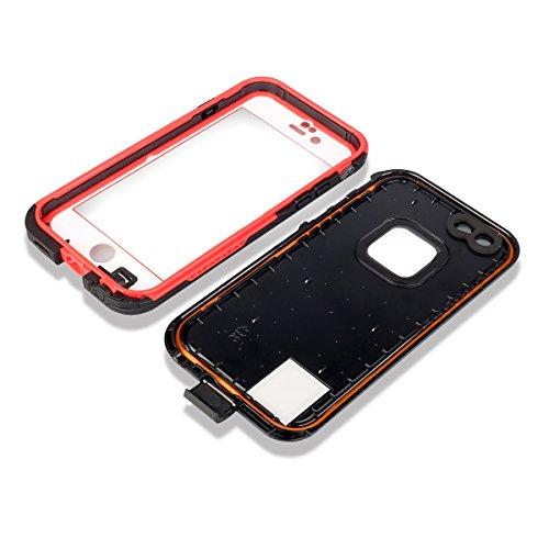 Redpepper iPhone 6 Plus/6S Plus Custodia, Antiurto Anti-polvere, IP68 Impermeabile Custodia Cover Case per iPhone 6 Plus/6S Plus 5.5 pollici, Bianco rosso