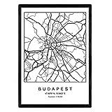 Nacnic Druck Budapest Stadtplan nordischer Stil schwarz und